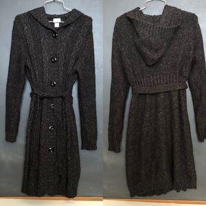 Hooded heather gray sweater, L, Motherhood